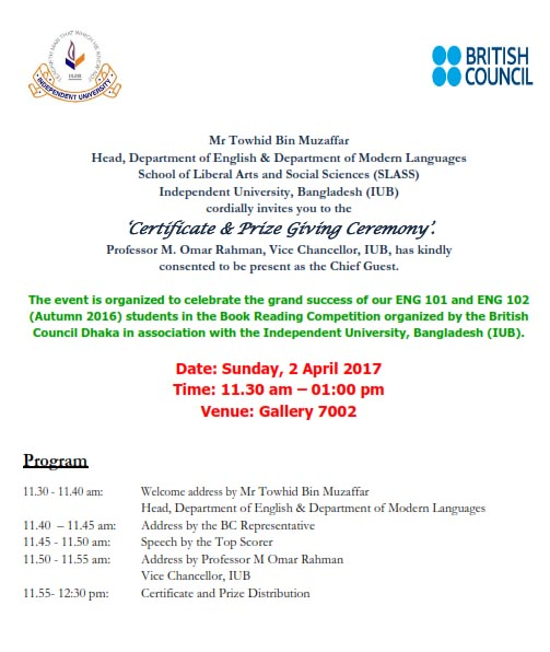 British Council Book Reading Competition \'Certificate and Prize ...